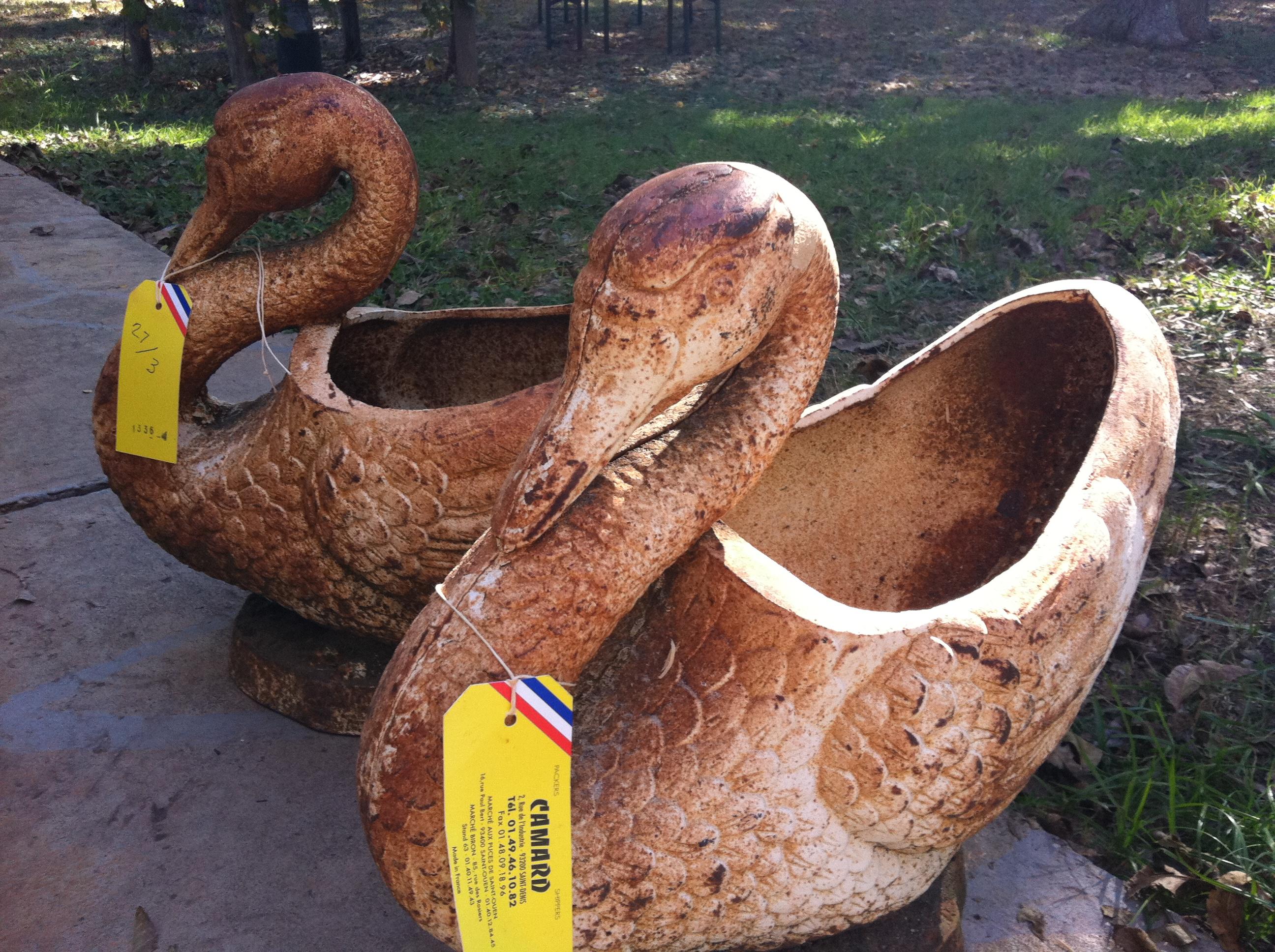 Pair Iron Swan Jardinieres