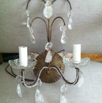 Pair Italian Rock Crystal Sconces