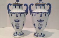 French Faience Urns, Pair
