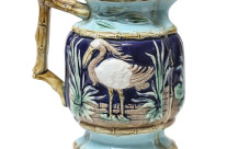 Majolica Pitcher w/Shorebirds