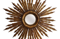 French Vintage Carved Sunburst Mirror