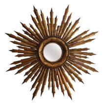 French Vintage Carved Sunburst Mirror