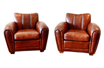 Art Deco Leather Club Chairs, Pair