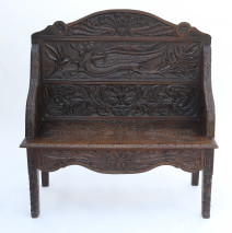 19th-Century Carved Oak Settee