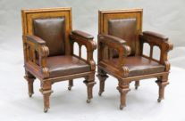 Antique Leather Library Chairs, Pair