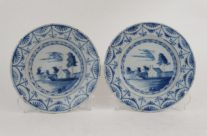 Chinoiserie Delft Plates, Pair