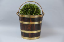 Antique English Brass Banded Bucket