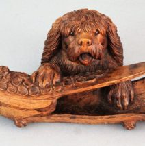 19th-Century Carved Black Forest Dog