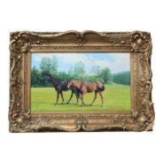 Horses In Paddock Oil Painting