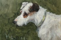 Antique Terrier Dog Oil Painting