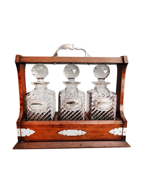 Antique liquor tantalus decanter set faded rose antiques for Antique decoration pieces