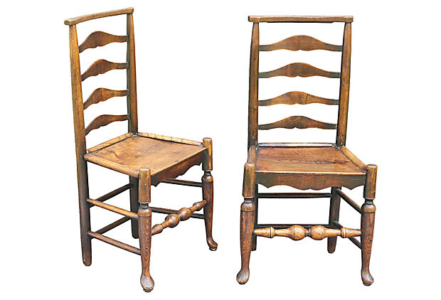 Antique English Elm Wood Youth Child Chairs Pair
